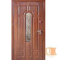 """Входная дверь на улицу """"Арка с ковкой"""" серии """"Премиум"""" (дуб медовый+ковка №2)"""