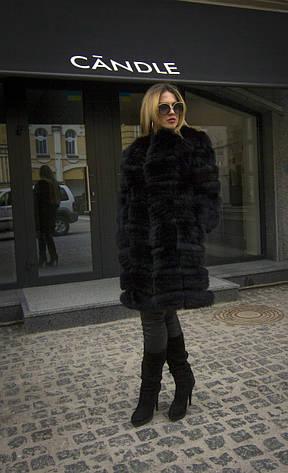 Шуба из песца финского удлиненная IF 013 черная, фото 2