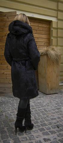 Шуба из натурального меха нутрии с капюшоном IF 025 черная, фото 2
