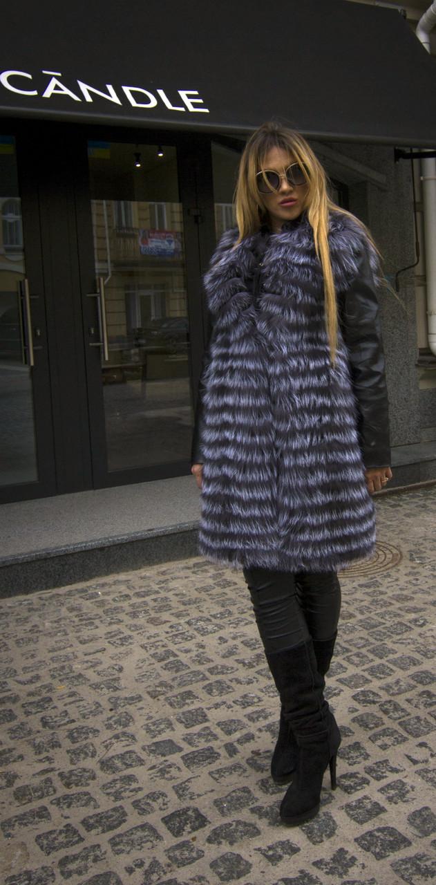 Шуба из натурального меха чернобурки IF 034