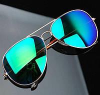 Очки капли Aviator солнцезащитные Blue-Green G 2018