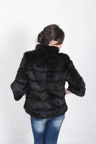 Шуба из натурального меха кролика черная короткая IF 052/1, фото 2