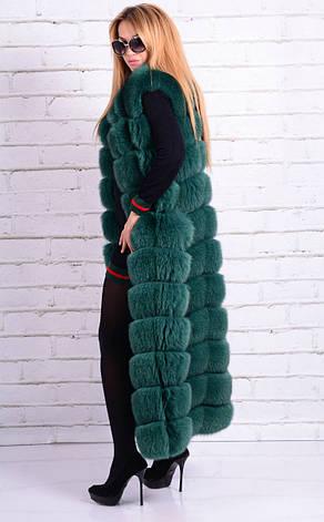 Жилет из песца финского длинный IF 080 зеленый, фото 2