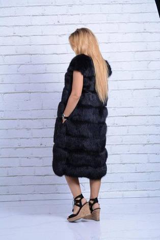 Жилет из натурального меха лисы черная IF 099, фото 2