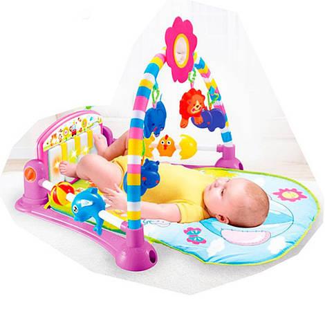Коврик для младенца 76-52см, дуга, подвески 5шт, пианино, музыка, свет, PA518