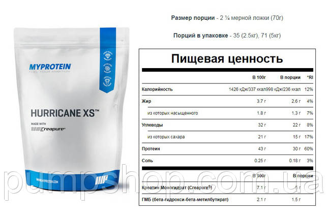 Супер гейнер MyProtein Hurricane XS 5 кг ( 43% белка), фото 2