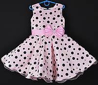 """Платье нарядное детское """"Стиляги"""". 6 лет. Корсет - майка. Розовое в черный горох. Оптом и в розницу, фото 1"""