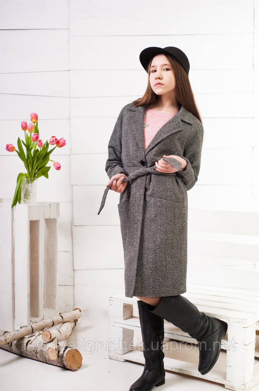 Пальто демисезонное для девочки подростка, из твида К-129