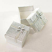 Подарочная коробочка для украшений маленькая 24 шт. Серебро [5/5/4 см]
