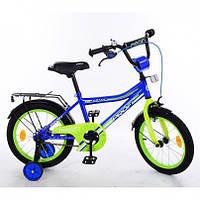 """Велосипед детский 2-х колесный, PROF1 18"""", Top Grade, синий, звонок, дополнительные колеса, Y18103"""
