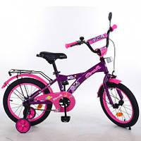 """Велосипед детский, 2-х колесный, PROF1 16"""", Original girl, фиолетово-розовый, звонок, допопнительные колеса, T1663"""