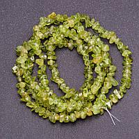 Бусины из натурального камня Хризолит крошка d-6+-)мм нитка L-90см