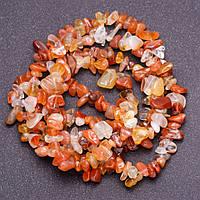 Бусины из натурального камня Сердолик крошка d-6мм(+-) нитка L-90см