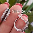 Серебряные серьги с черными камнями - Женские серьги серебро, фото 3