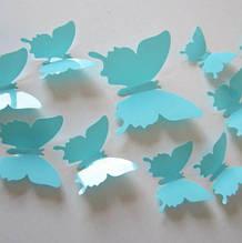 Бирюзовые бабочки для дома - 12шт.