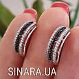 Серебряные серьги с черными камнями - Женские серьги серебро, фото 2