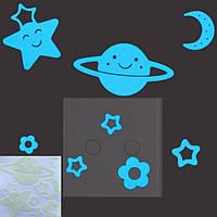 """Голубая светящаяся наклейка """"Космос"""" - 10*10см (поглощает свет и светится в темноте)"""