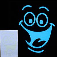 """Голубая светящаяся наклейка """"Смайлик"""""""