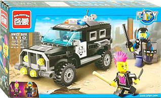 Конструктор 1110 поліція, машинка, фігурки, 190 деталі, в коробці, 31,5-19-5 см