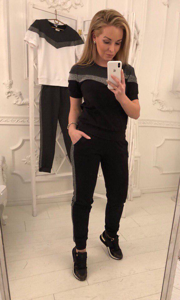 830ffc0dc304 Женский спортивный костюм штаны и футболка турецкий трикотаж + люрекс Размеры  42,44,46