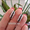 Серебряные серьги с черными камнями - Женские серьги серебро, фото 5