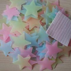 Фосфорные звездочки на потолок разноцветные - в наборе 90-100шт., пластик, в набор входит 2-х сторонний скотч
