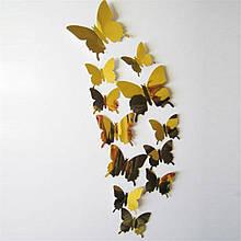 Золотые бабочки зеркальные для дома - 12шт.