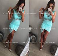 Женское гипюровое платье с ассиметричным низом, в расцветках