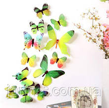 Набор зеленых бабочек для интерьера - 12шт.