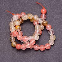 Бусины из натурального камня Халцедон разноцветный на леске шарик d-8мм L-38см
