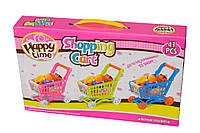 Игрушечная тележка с продуктами детская пластик
