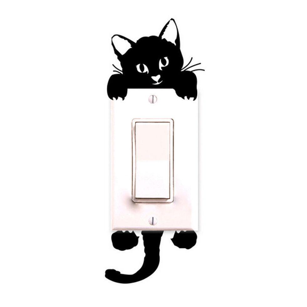 """Виниловая наклейка на выключатель """"Кот""""  - размер наклейки 15*6см, (распределяете на свое усмотрение)"""