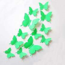 Салатовые бабочки для декора дома - 12шт.