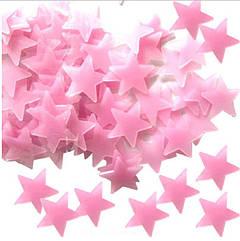 Светящиеся розовые звездочки для детей - в наборе 92-100шт.