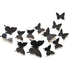 Черные бабочки декор на стену - в наборе 12шт. разных размеров, в набор входит 2-х сторонний скотч, пластик