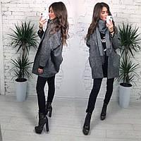 Стильное женское твидовское пальто