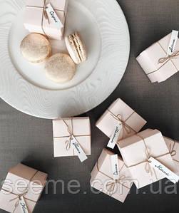 Бонбоньерка для свадьбы 50x50x50 мм, цвет перламутровый розовый\молочный\белый