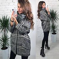 Модное женское пальто с узором