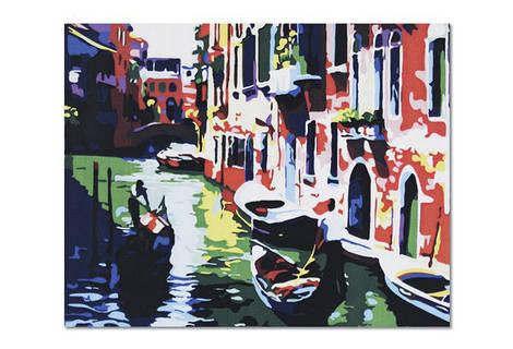 """Холст-расскраска по номерам """"Венеция"""" (40*50см), с набором красок и кисточкой и рамкой, G086"""