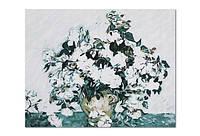 """Холст-расскраска по номерам """"Цветы в вазе"""" (40*50см), с набором красок и кисточкой и рамкой, G281"""