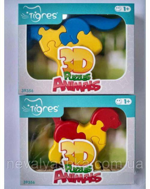 Игрушка развивающая Тигрес 3D пазлы 1 шт 8 эл Животные, 39356, 007100