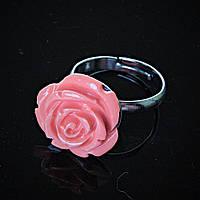 Кольцо без р-р Роза полимерная глина коралловый