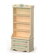 Книжный шкаф A-04 Angel береза с цветными вставками