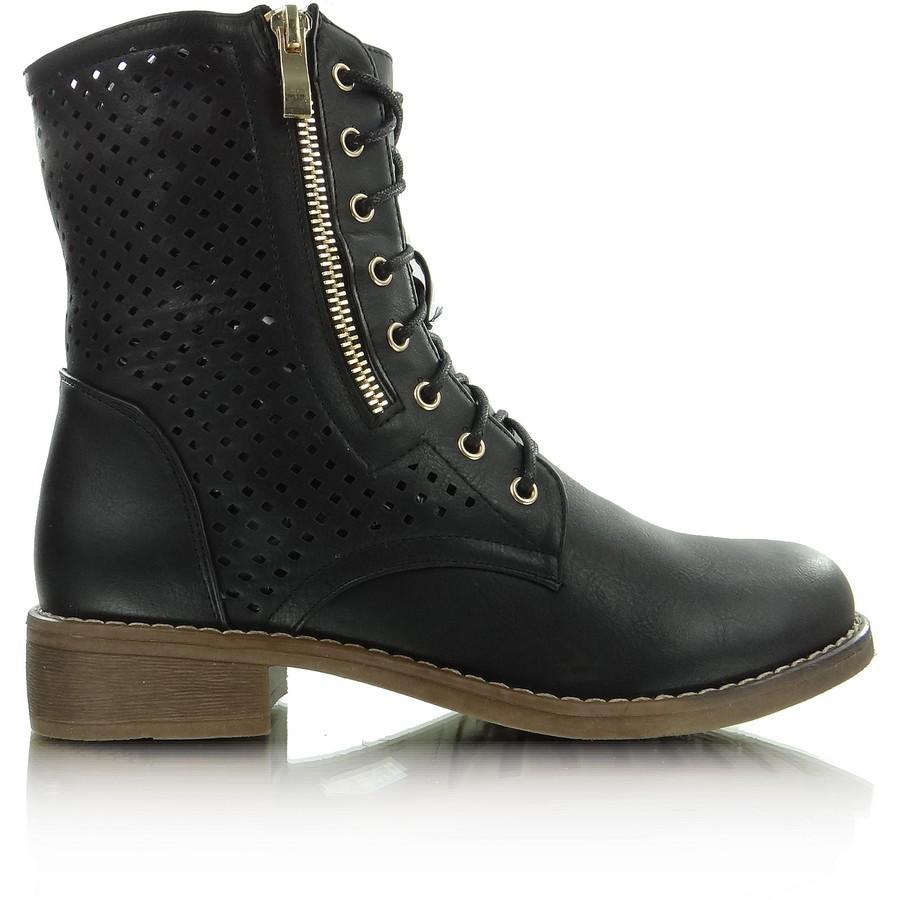 Ажурные высокие ботинки серые купить фото 2015 Киев Украина 35071 CZARNE