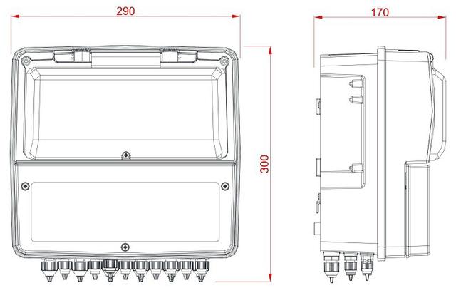 габаритные размеры панели управления дозацией AquaViva PH–RX–CL