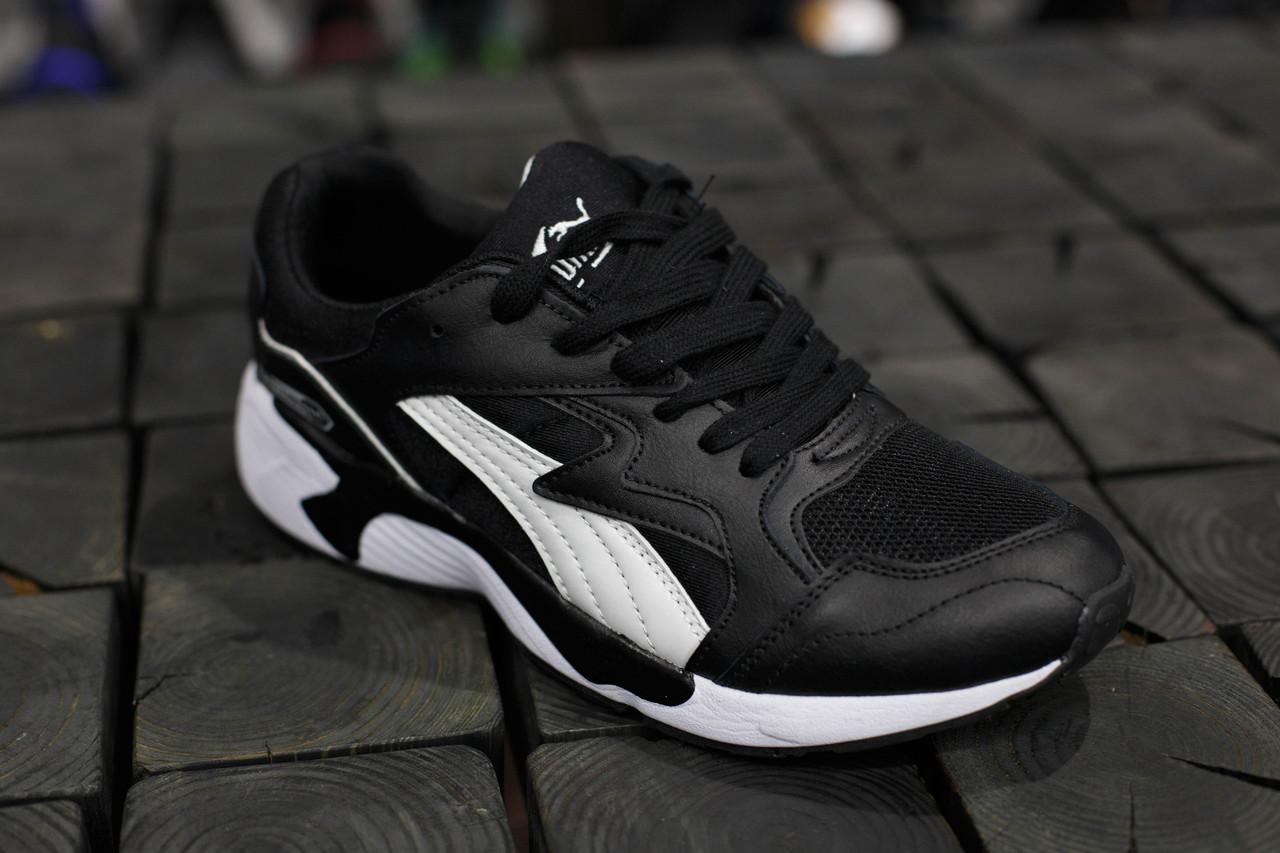 Мужские кроссовки Puma Trinomic.Черные,кожа-текстиль