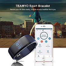 Фітнес трекер Teamyo спортивний розумний браслет IP 68 синій, фото 3