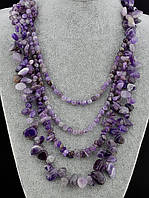 Бусы из натурального камня  Аметист 65 см. - модное стильное женское украшение