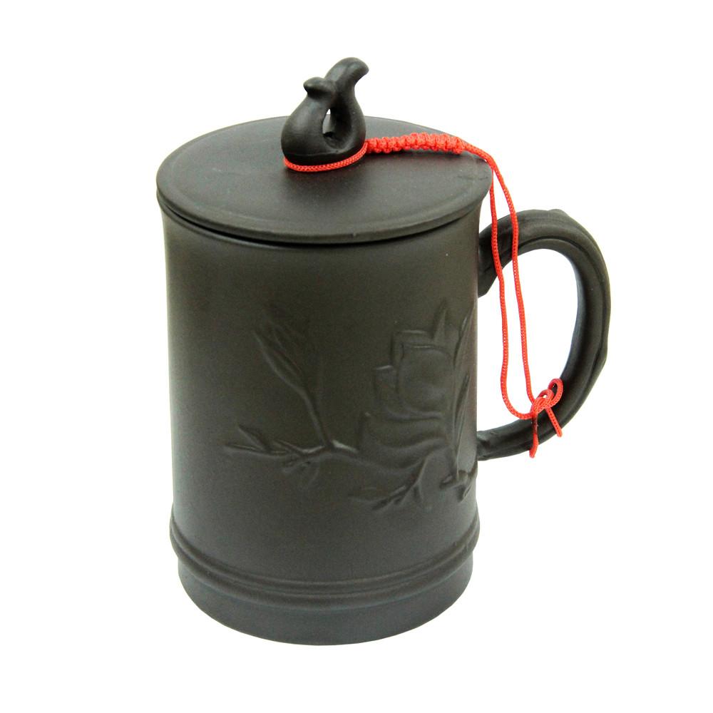 Глиняная кружка с крышкой Амарант, 400 мл ( глиняная чашка )