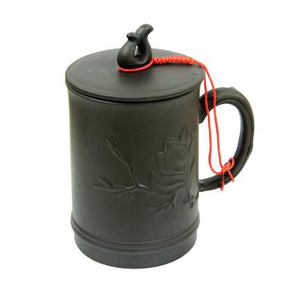 Глиняная кружка с крышкой Амарант, 400 мл ( глиняная чашка ), фото 2